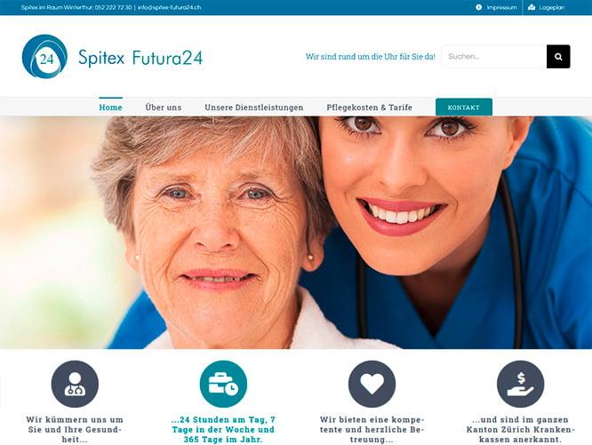 Redesign der Webseite von Spitex Futura24 GmbH in Winterthur mit CMS WordPress. Seitentextoptimierung, Bildbearbeitung, grafische Gestaltung des Firmenlogos und des Flyers für die Pflegewohnung in Winterthur Wülflingen durch die Medienagentur Aquablues in Dinhard