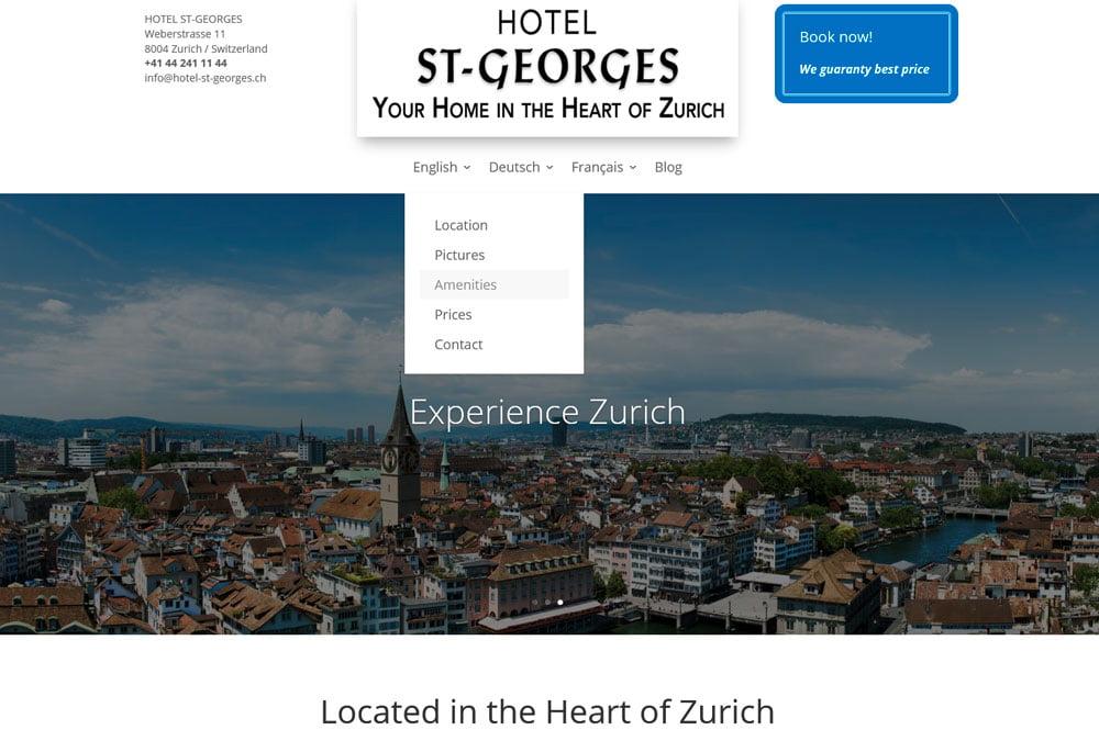 Hotel St-Georges, Zürich Webseiten professionell optimieren Suchmaschinenoptimierung seo und Aufbau des Blogbereichs