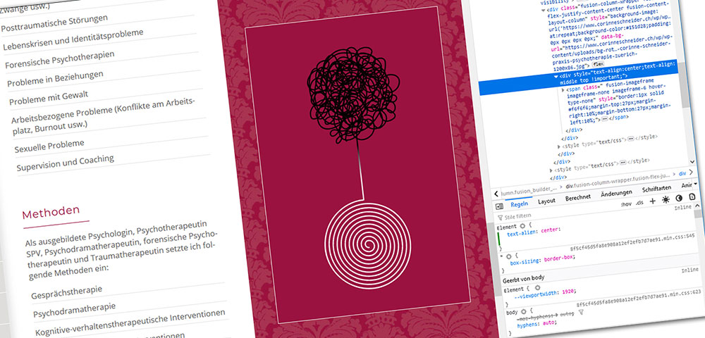 Redesign der Webseite Praxis für Psychotherapie Corinne Schneider in Zürich mit CMS WordPress. Seitentextoptimierung, Bildbearbeitung, grafische Gestaltung Webauftritt alles aus einer Hand durch die Medienagentur Aquablues in Dinhard Nähe Winterthur