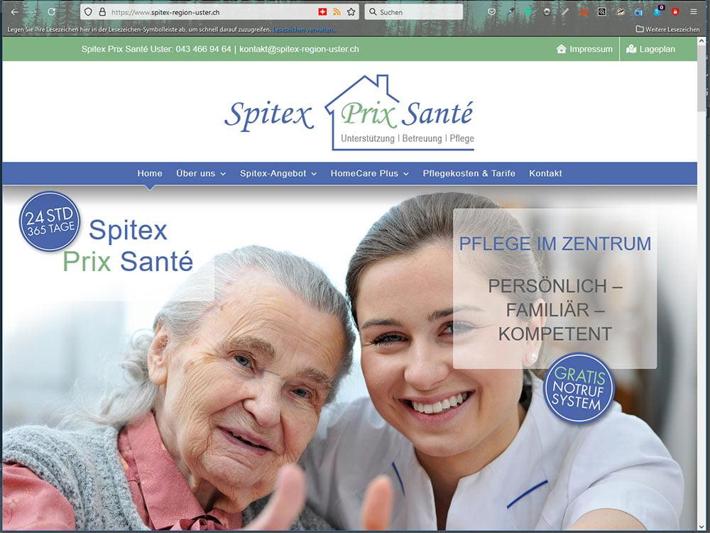 Redesign Neue Webseite Spitex Prix Santé Region Uster mit CMS WordPress. Seitentextoptimierung, Bildbearbeitung, grafische Gestaltung des Firmenlogos und des Flyers für die Spitex Region Uster durch die Medienagentur Aquablues in Dinhard