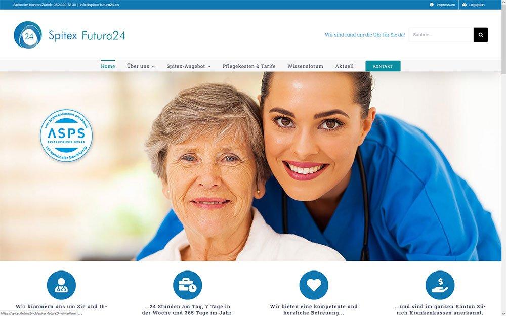 Redesign der Webseite von Spitex Futura 24 Winterthur Wülflingen Pflegewohnung Weitblick in Winterthur mit CMS WordPress. Seitentextoptimierung, Bildbearbeitung, grafische Gestaltung des Firmenlogos und des Flyers für die Pflegewohnung in Winterthur Wülflingen durch die Medienagentur Aquablues in Dinhard