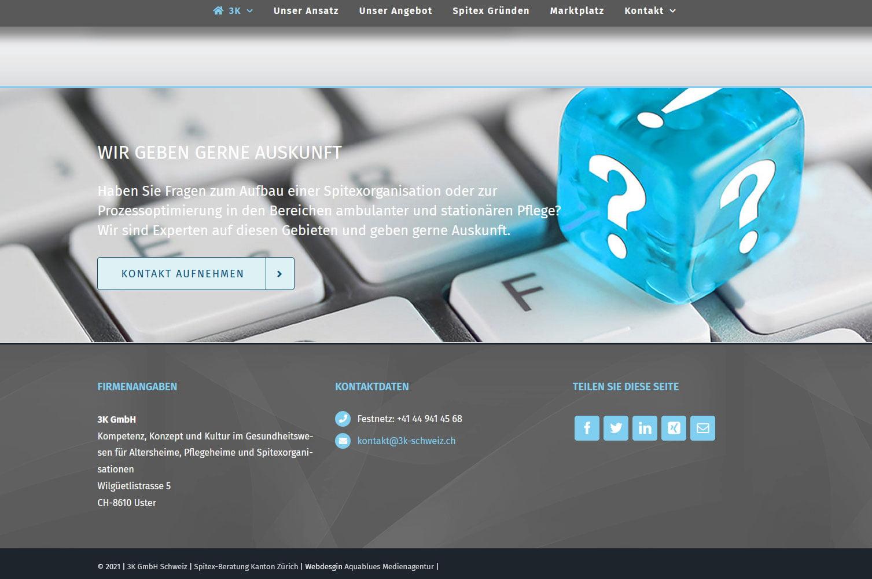 Redesign der Webseite der 3K GmbH Uster plus ein komplett neue Webseite für die Domain Spitex-Beratung.ch mit CMS WordPress plugs geziehlte Suchmaschinenoptimierung durch die Medienagentur Aquablues in Dinhard Nähe Winterthur