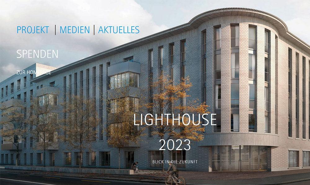 Neue Webseite mit Splash-Page für die Promotion des Zürcher Lighthouse 2023. Gestaltung mit CMS WordPress durch die Medienagentur Aquablues in Dinhard Nähe Winterthur